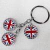 Zinc Alloy keyring Jewelry Key Chains, Pendant width:22mm, Length Approx:8.5cm, Sold by PC