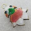 Cloisonne Pendants, Fish 28x22mm, Sold by PC