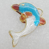 Cloisonne Pendants, Dolphin 25x19mm Hole:2mm, Sold by PC