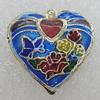 Cloisonne Pendants, Heart 18x18mm Hole:1mm, Sold by PC
