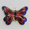 Cloisonne Pendants, Butterfly 28x19mm Hole:1.5mm, Sold by PC
