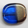 Electroplate Glass Beads, Flat Oval, 14x12mm, Hole:1mm, Sold per 16-inch Strand