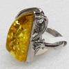 Imitate Amber Ring with metal alloy set, Head size:18x30mm, Sold by Dozen