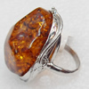 Imitate Amber Ring with metal alloy set, Head size:33x38mm, Sold by Dozen