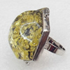Imitate Amber Ring with metal alloy set, Head size:31mm, Sold by Dozen