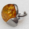 Imitate Amber Ring with metal alloy set, Head size:24x25mm, Sold by Dozen