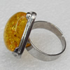 Imitate Amber Ring with metal alloy set, Head size:22mm, Sold by Dozen