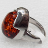 Imitate Amber Ring with metal alloy set, Head size:18x24mm, Sold by Dozen