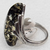 Imitate Amber Ring with metal alloy set, Head size:20x28mm, Sold by Dozen