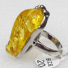 Imitate Amber Ring with metal alloy set, Head size:19x34mm, Sold by Dozen