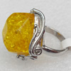 Imitate Amber Ring with metal alloy set, Head size:27mm, Sold by Dozen