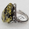 Imitate Amber Ring with metal alloy set, Head size:20x23mm, Sold by Dozen