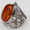 Imitate Amber Ring with metal alloy set, Head size:28mm, Sold by Dozen
