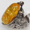 Imitate Amber Ring with metal alloy set, Head size:28x33mm, Sold by Dozen