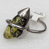 Imitate Amber Ring with metal alloy set, Head size:16x28mm, Sold by Dozen