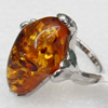 Imitate Amber Ring with metal alloy set, Head size:19x28mm, Sold by Dozen
