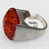 Imitate Amber Ring with metal alloy set, Head size:19mm, Sold by Dozen