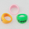 Acrylic Rings, Mix Color, 24x15mm, Sold by Box