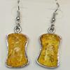 Imitate Amber Earring, width:16mm, Length:48mm, Sold by Dozen
