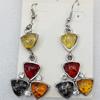 Imitate Amber Earring, width:25mm, Length:60mm, Sold by Dozen