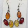 Imitate Amber Earring, width:20mm, Length:53mm, Sold by Dozen