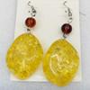 Imitate Amber Earring, width:23mm, Length:60mm, Sold by Dozen