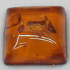Imitate Amber Cabochons, Square, The other side is Flat 10mm, Sold by Bag