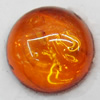 Imitate Amber Cabochons, Round, The other side is Flat 8mm, Sold by Bag