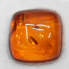 Imitate Amber Cabochons, Square, The other side is Flat 16mm, Sold by Bag