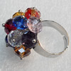 Iron Ring with Crystal Beads, Flower:about 28mm in diameter, Ring: 18mm inner diameter, 4.5-7mm wide, Sold by Box