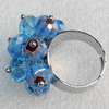 Iron Ring with Millefiori Glass, Mix colour, Flower:about 27x16mm, Ring: 18mm inner diameter, 4.5-7mm wide,4.5-7mm wide,