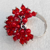 Iron Ring with Crystal Beads, Mix colour, Flower:about 27mm, Ring: 18mm inner diameter, 4.5-7mm wide, Sold by Box