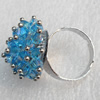 Iron Ring with Crystal Beads, Mix colour, Flower:about 23mm, Ring: 18mm inner diameter, 4.5-7mm wide, Sold by Box