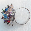 Iron Ring with Crystal Beads, Flower:about 23mm in diameter, Ring: 18mm inner diameter, 4.5-7mm wide, Sold by Box