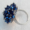 Iron Ring with Crystal Beads, Mix colour, Flower:about 28mm, Ring: 18mm inner diameter, 4.5-7mm wide, Sold by Box