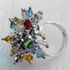 Iron Ring with Crystal Beads, Flower:about 30mm in diameter, Ring: 18mm inner diameter, 4.5-7mm wide, Sold by Box