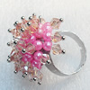Iron Ring with Crystal Beads, Mix colour, Flower:about 30mm, Ring: 18mm inner diameter, 4.5-7mm wide, Sold by Box
