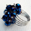Iron Ring with Crystal Beads, Mix colour, Flower:about 18x27mm, Ring: 18mm inner diameter, 4.5-7mm wide, Sold by Box