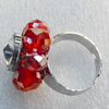 Iron Ring with Crystal Beads, Mix colour, Flower:about 24mm, Ring: 18mm inner diameter, 4.5-7mm wide, Sold by Box