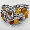 Bracelet, Imitate Amber Beads and Crystal Beads on a Zinc Alloy frame, width:52mm, Outer diameter:68mm, Sold by PC