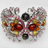 Bracelet, Imitate Amber Beads and Crystal Beads on a Zinc Alloy frame, width:48mm, Outer diameter:65mm, Sold by PC
