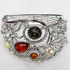 Bracelet, Imitate Amber Beads and Crystal Beads on a Zinc Alloy frame, width:47mm, Outer diameter:76mm, Sold by PC