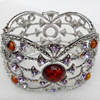 Bracelet, Imitate Amber Beads and Crystal Beads on a Zinc Alloy frame, width:46mm, Outer diameter:78mm, Sold by PC