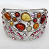 Bracelet, Imitate Amber Beads and Crystal Beads on a Zinc Alloy frame, width:76mm, Outer diameter:76mm, Sold by PC