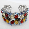 Bracelet, Imitate Amber Beads and Crystal Beads on a Zinc Alloy frame, width:34mm, Outer diameter:80mm, Sold by PC