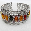 Bracelet, Imitate Amber Beads and Crystal Beads on a Zinc Alloy frame, width:33mm, Outer diameter:80mm, Sold by PC