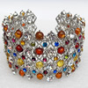 Bracelet, Imitate Amber Beads and Crystal Beads on a Zinc Alloy frame, width:40mm, Outer diameter:80mm, Sold by PC