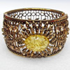 Bracelet, Imitate Amber Beads and Crystal Beads on a Zinc Alloy frame, width:44mm, Outer diameter:80mm, Sold by PC