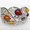 Bracelet, Imitate Amber Beads and Crystal Beads on a Zinc Alloy frame, width:45mm, Outer diameter:73mm, Sold by PC