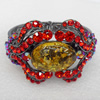 Bracelet, Imitate Amber Beads and Crystal Beads on a Zinc Alloy frame, width:45mm, Outer diameter:65mm, Sold by PC